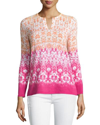 Hibiscus-Print Ombre Sweater, Hibiscus