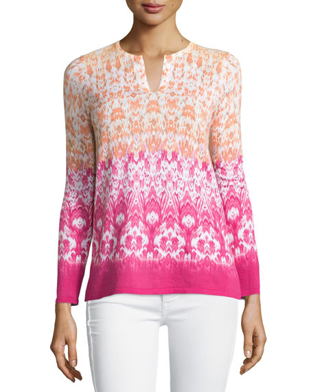 Belford Hibiscus-Print Ombre Sweater, Hibiscus