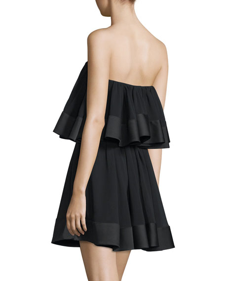 Not-To-Be Tiered Mini Dress, Black