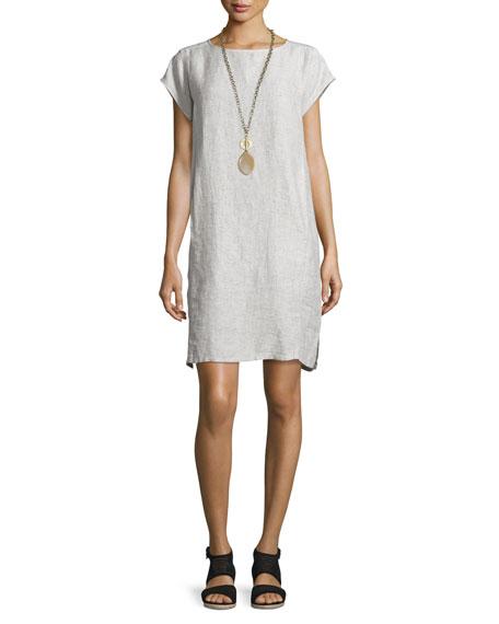 Eileen Fisher Short-Sleeve Check Linen Slub Dress, Soft