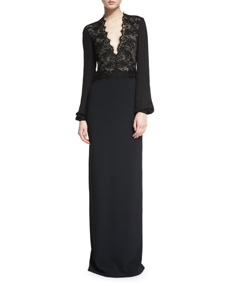 Monique Lhuillier Bishop-Sleeve Lace-Inset Column Gown, Black
