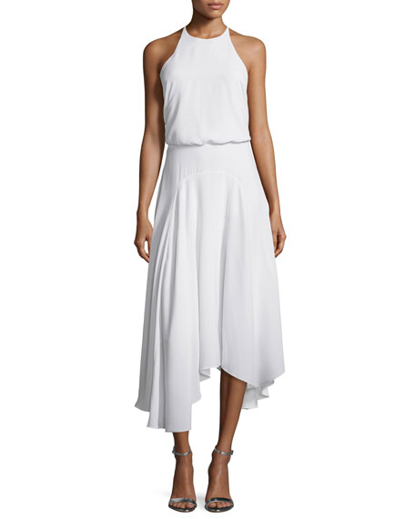 Halston Heritage Sleeveless T-Back Handkerchief Midi Dress