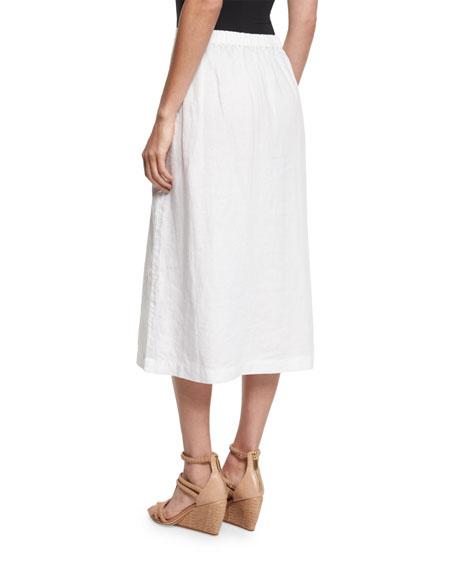 Eileen Fisher Organic Linen A-Line Wrap Skirt, White