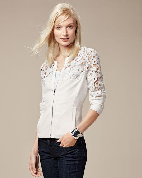 Crochet Lace-Inset Bomber Jacket, White