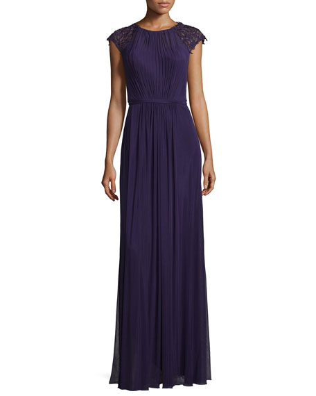 La Femme Beaded-Sleeve Pleated Crepe Gown, Plum
