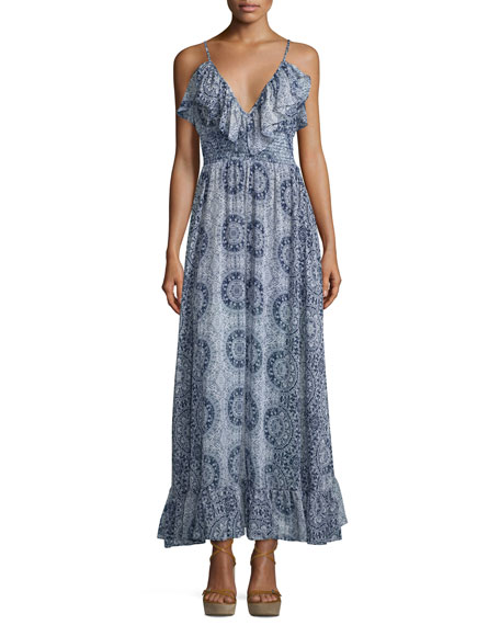 Misa Los Angeles Castelle Ruffle-Trim Maxi Dress, Navy/White