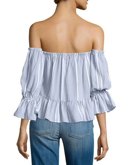 Brigit Off-The-Shoulder Striped Top, Navy/White