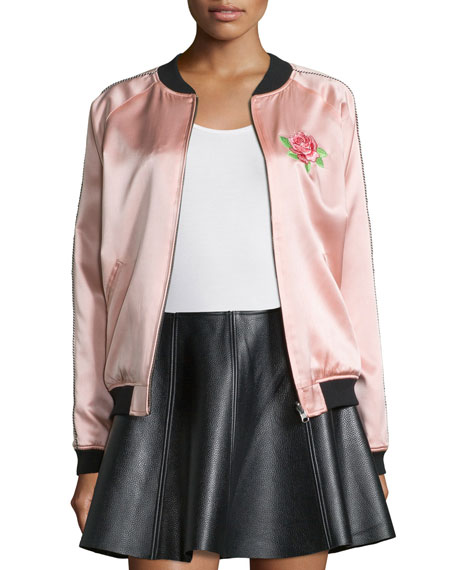 Opening Ceremony Reversible Embroidered Silk Varsity Jacket,