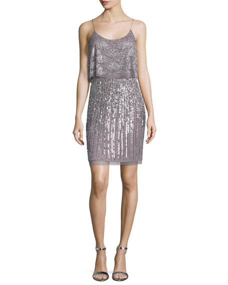 Embellished Popover Cocktail Dress, Ice Violet