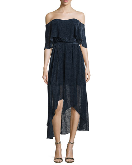 Camilla & Marc Off-The-Shoulder Draped High-Low Cocktail Dress,