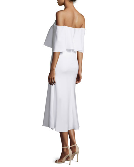 Off-The-Shoulder Midi Cocktail Dress, Warm Creme