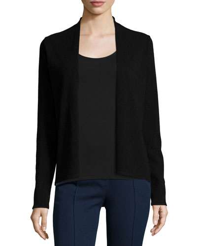 Stori Cashmere Open-Front Sweater, Black