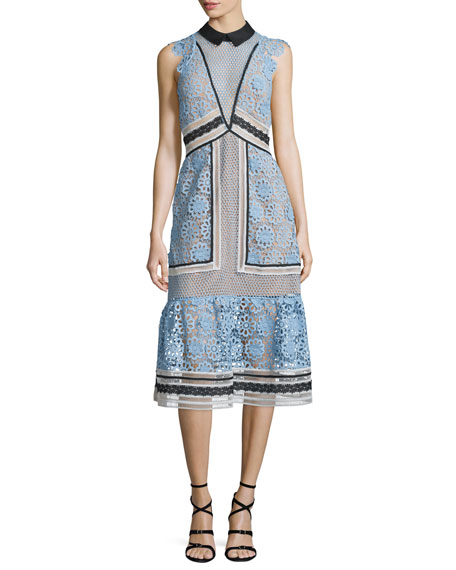 Self Portrait Sleeveless Paneled Lace Midi Dress,