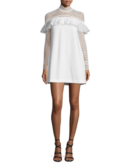 Long-Sleeve Lace-Trim Crepe Mini Dress, White