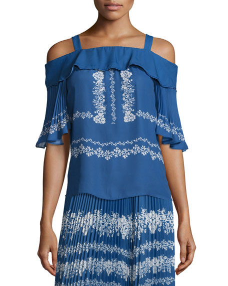 Self-Portrait Chiffon Flower Spell Cold-Shoulder Top, Cobalt