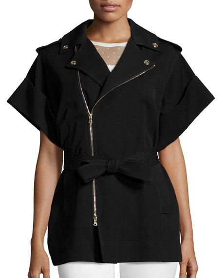 Short-Sleeve Tie-Waist Coat, Black