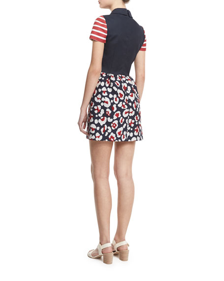 Short-Sleeve Mixed-Print Mini Dress, Blue