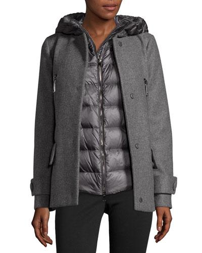 Euphemia Woolen Coat w/Puffer Vest, Gray