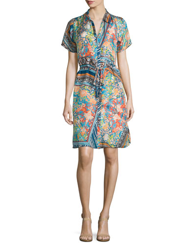 Arroyo Button-Front Shirtdress, Multi Colors