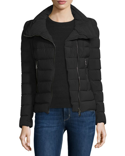 Antigone Asymmetric-Zip Puffer Jacket, Black