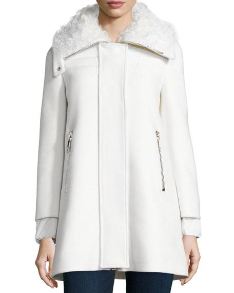 Moncler Calipso Wool-Blend Coat w/Fur Collar, Ivory