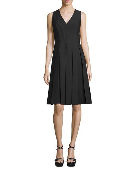 Michael Kors Collection Sleeveless V-Neck Pleated Dress, Black