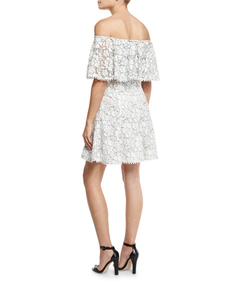 Floral Lace Off-the-Shoulder Frill Dress, White