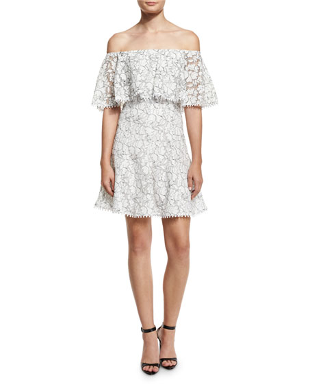 NICHOLAS Floral Lace Off-the-Shoulder Frill Dress, White