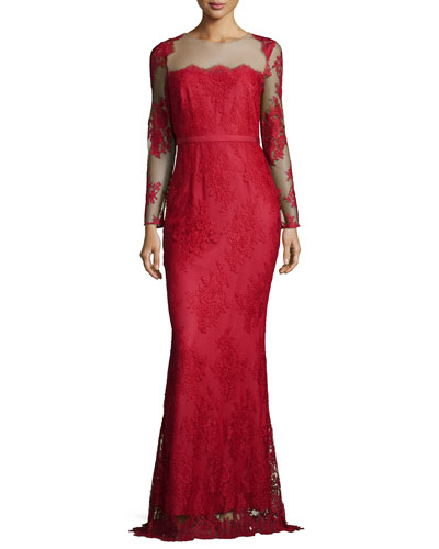 Long-Sleeve Lace Column Gown, Red