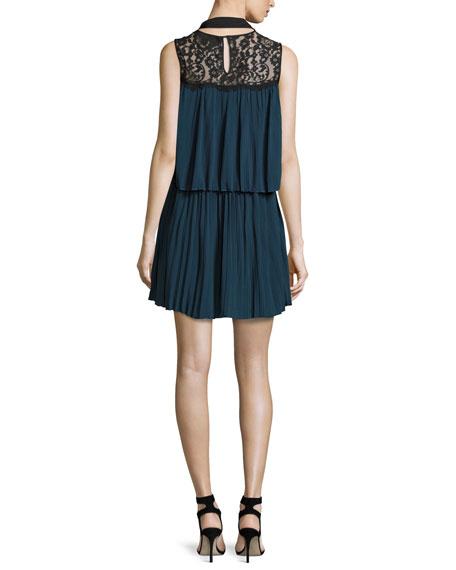 Berenice Lace-Yoke Plissé Tunic Dress