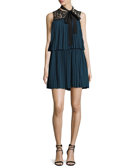 Rachel Zoe Berenice Lace-Yoke Plissé Tunic Dress