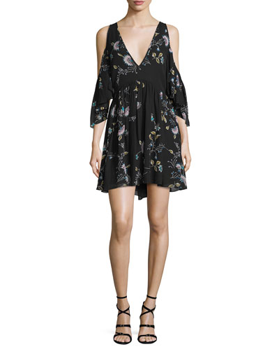Robbie Cold-Shoulder Floral-Print Dress