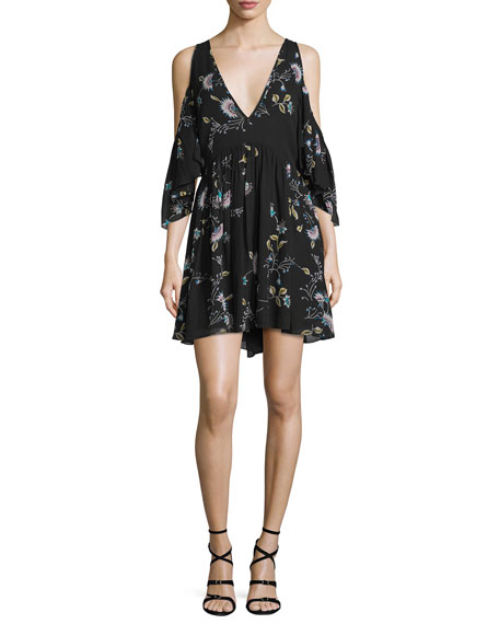 Rebecca Minkoff Robbie Cold-Shoulder Floral-Print Dress