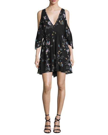 Rebecca Minkoff Robbie Cold-Shoulder Floral-Print Dress
