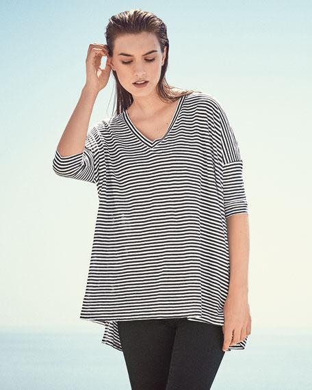 Dolman-Sleeve Striped Linen Tunic, Black/White