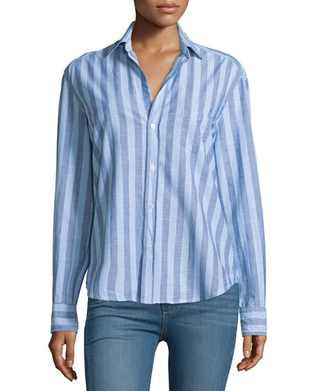 Eileen Long-Sleeve Striped Chambray Blouse