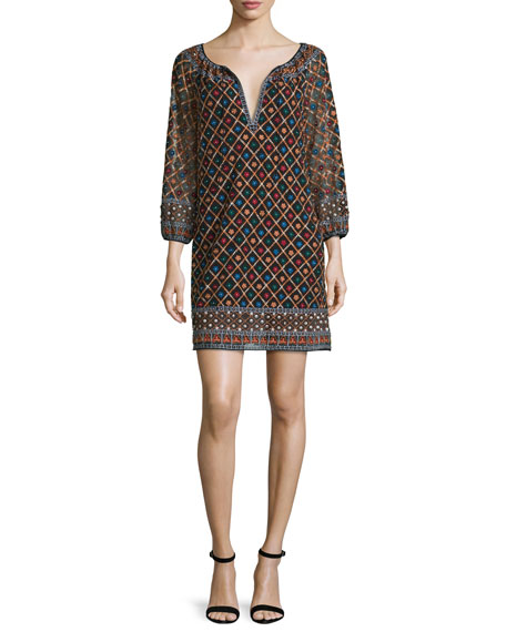 Alice + Olivia Gillian 3/4-Sleeve Embroidered Mini Dress,