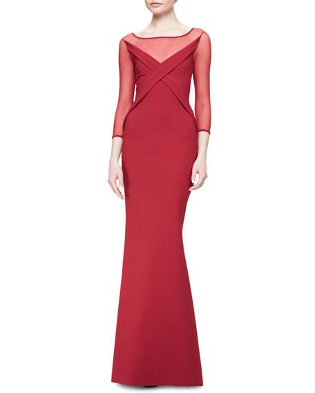 chiara boni la petite robe alidora 3 4 sleeve illusion boat neck column gown neiman marcus. Black Bedroom Furniture Sets. Home Design Ideas