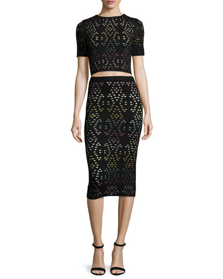Alice   Olivia Ani Laser-Cut Multicolor Pencil Skirt