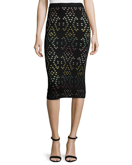Alice + Olivia Ani Laser-Cut Multicolor Pencil Skirt