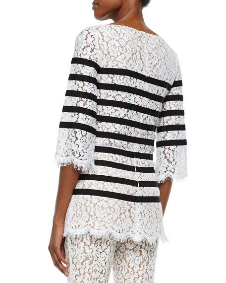 3/4-Sleeve Striped Floral-Lace Blouse