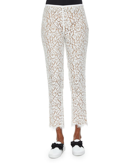 Michael Kors Collection Floral Lace Skinny Cropped Pants