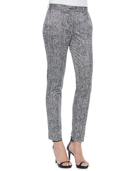 Michael Kors Collection Skinny Herringbone-Print Pants