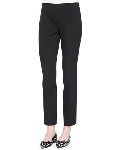 Side-Zip Stretch Wool Skinny Pants