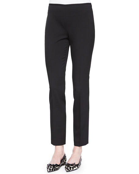 Michael Kors Collection Side-Zip Stretch Wool Skinny Pants