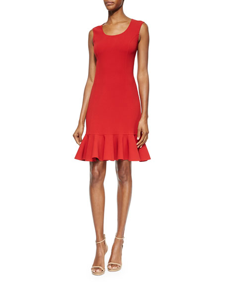 Michael Kors Collection Scoop-Neck Flounce-Hem Dress
