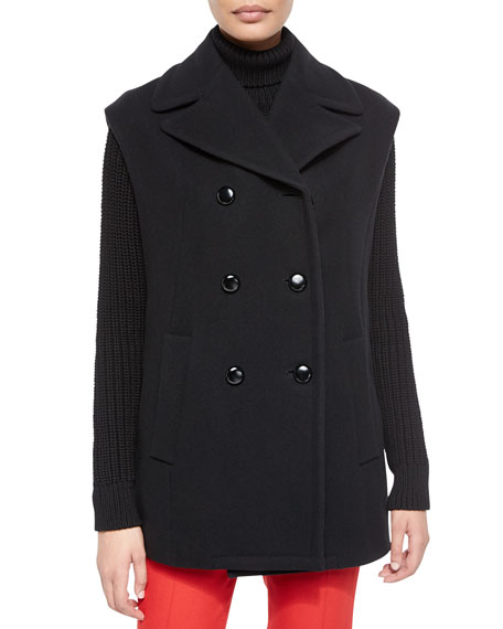 Michael Kors Collection Oversize Double-Breasted Wool Vest, Black
