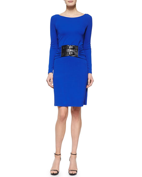 Michael Kors Collection Drop-Waist Croc-Embossed Belted Dress