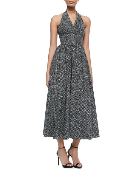 Michael Kors Collection Uneven Checked Halter Dress