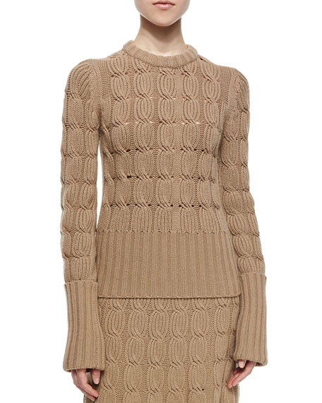 Michael Kors Collection Aran Cashmere-Blend Mixed-Knit Sweater